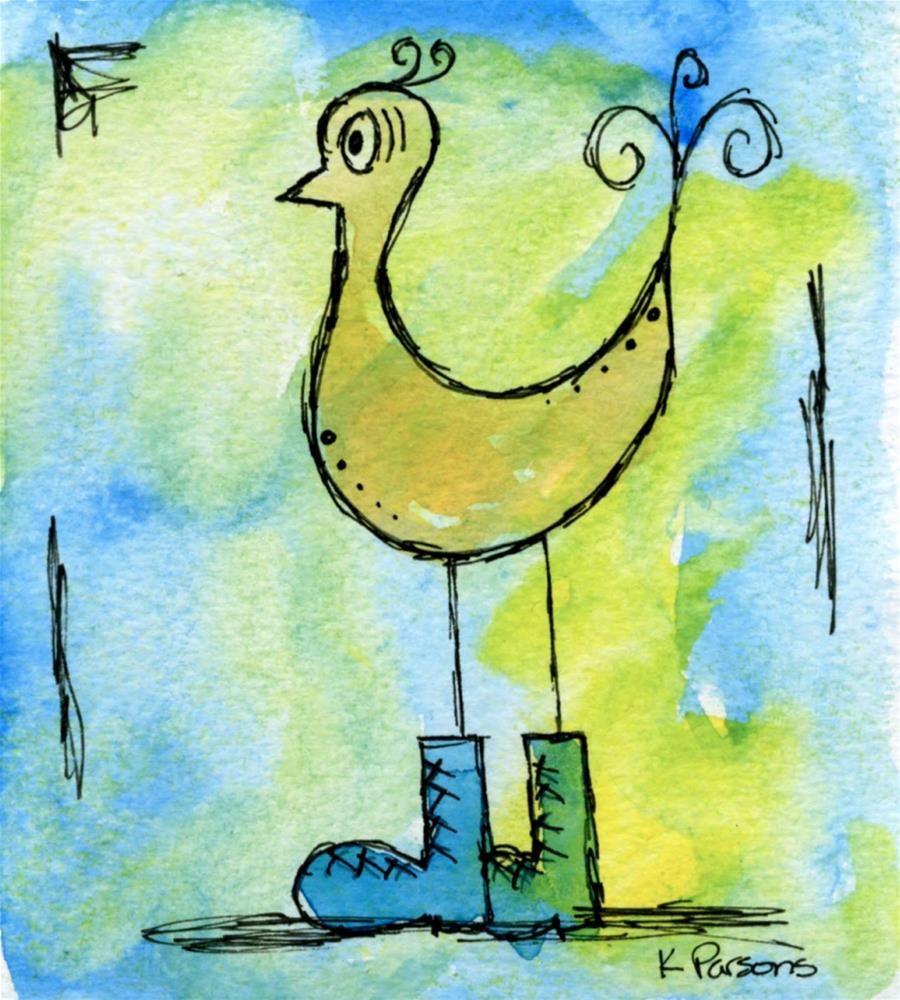 """Bird in Boots"" original fine art by Kali Parsons"