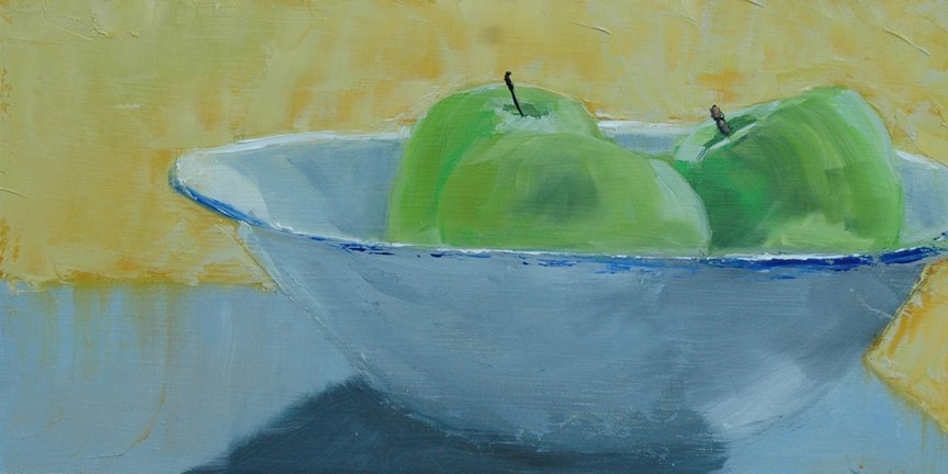 """GREEN APPLES"" original fine art by Linda Popple"