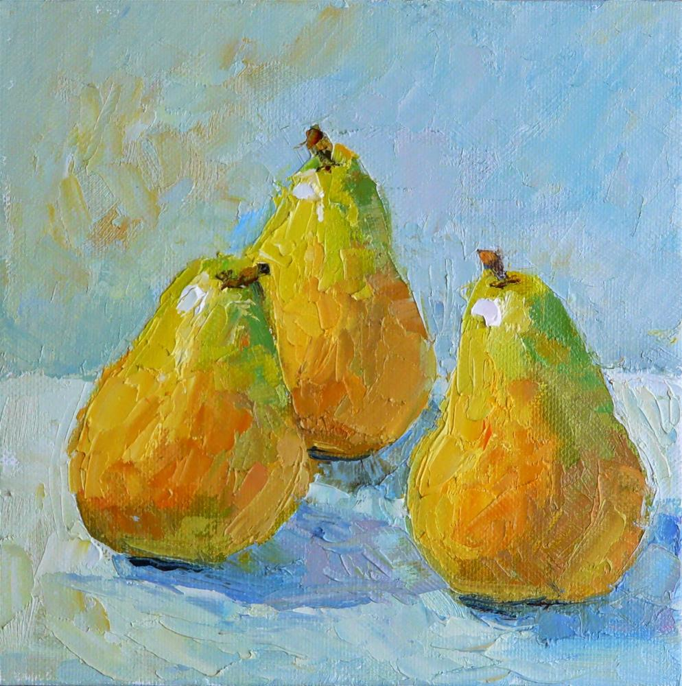 """Palette Knife Pears,still life,oil on canvas,8x8, price$275"" original fine art by Joy Olney"