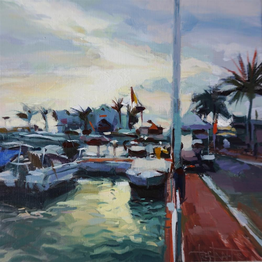 """Harbour of Marbella"" original fine art by Víctor Tristante"
