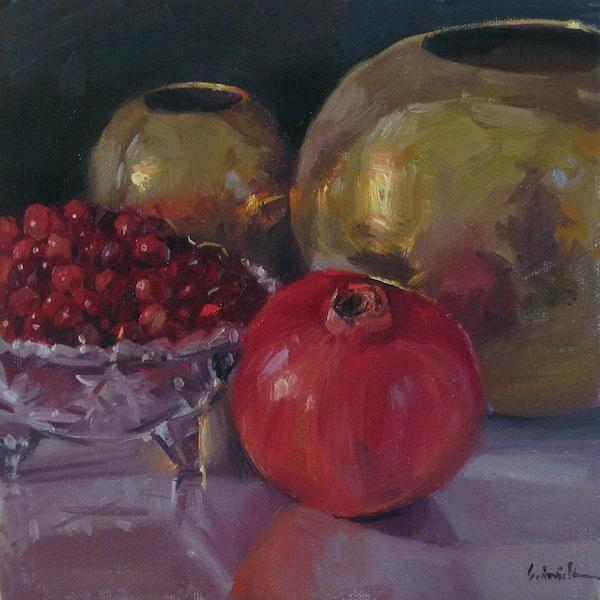 """Pomegranate and Cranberries"" original fine art by Sarah Sedwick"