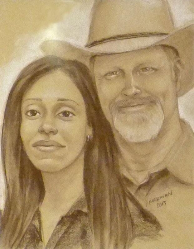 """Double Portrait Sketch at the San Antonio Rodeo"" original fine art by Rita Kirkman"