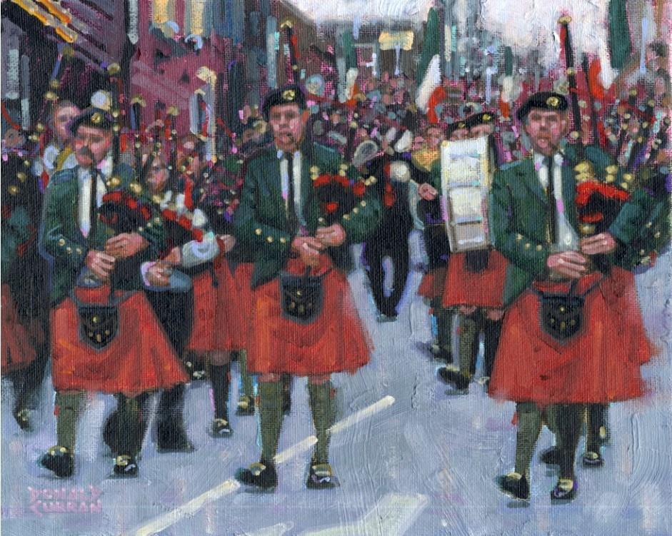 """""""Irish Bagpipe Parade"""" original fine art by Donald Curran"""