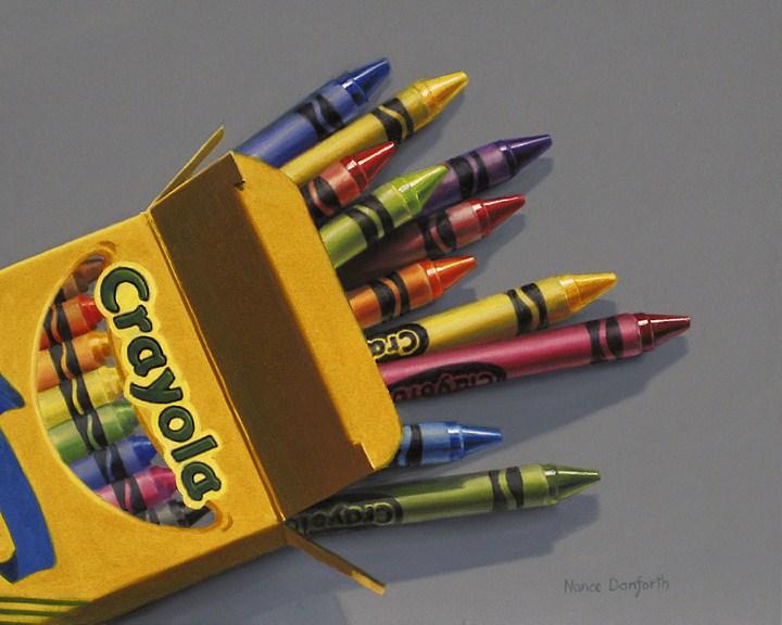 """Box of Crayola Crayons"" original fine art by Nance Danforth"