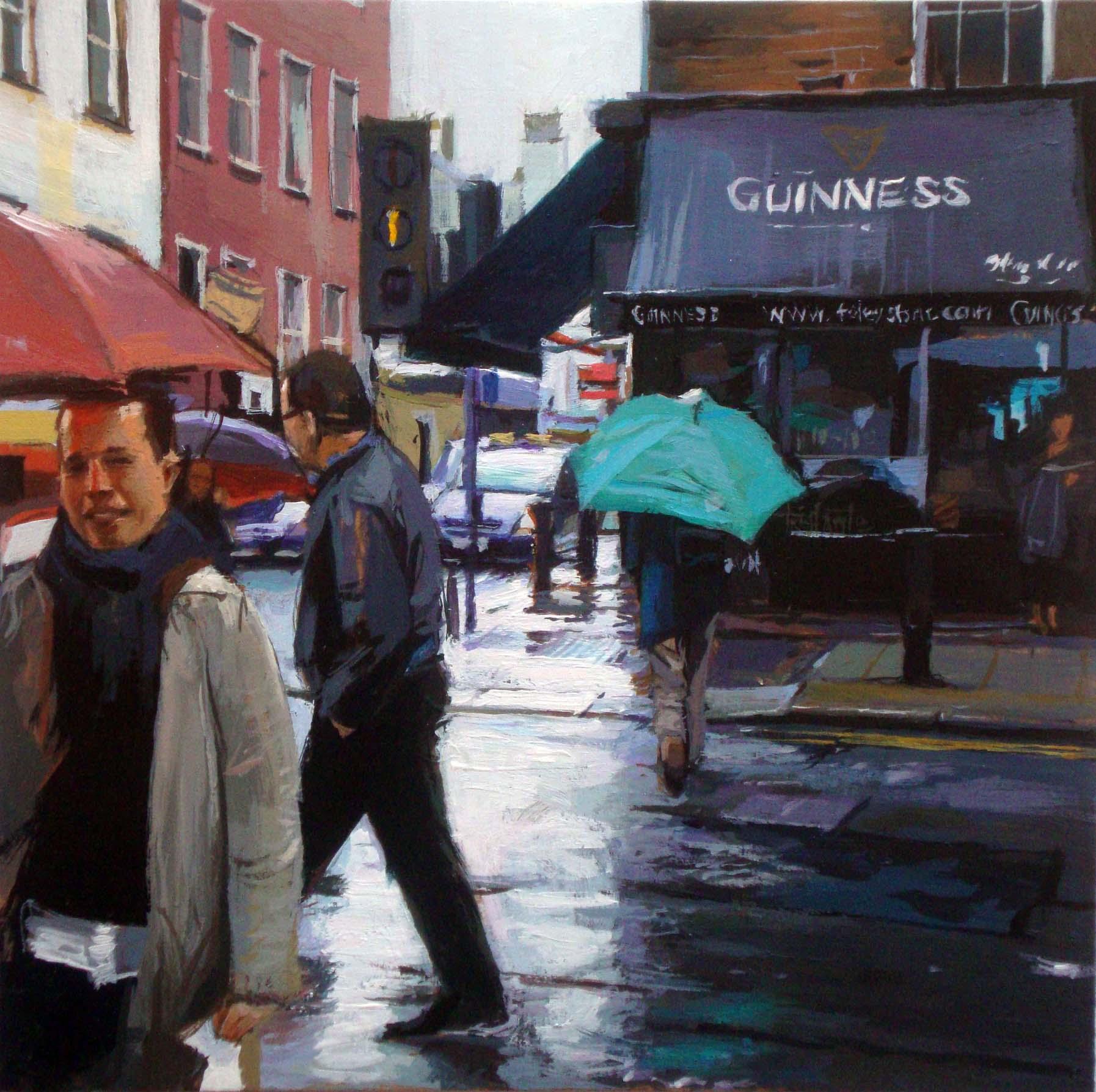 """Green Umbrella"" original fine art by Víctor Tristante"