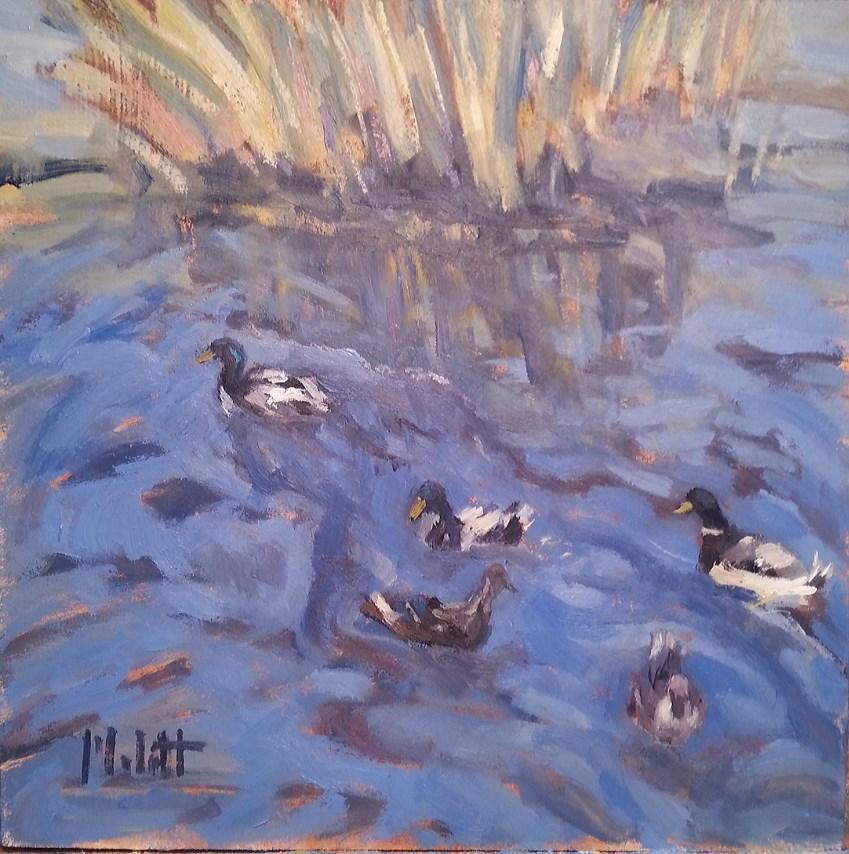 """Mallard Ducks Original Daily Oil Painting"" original fine art by Heidi Malott"