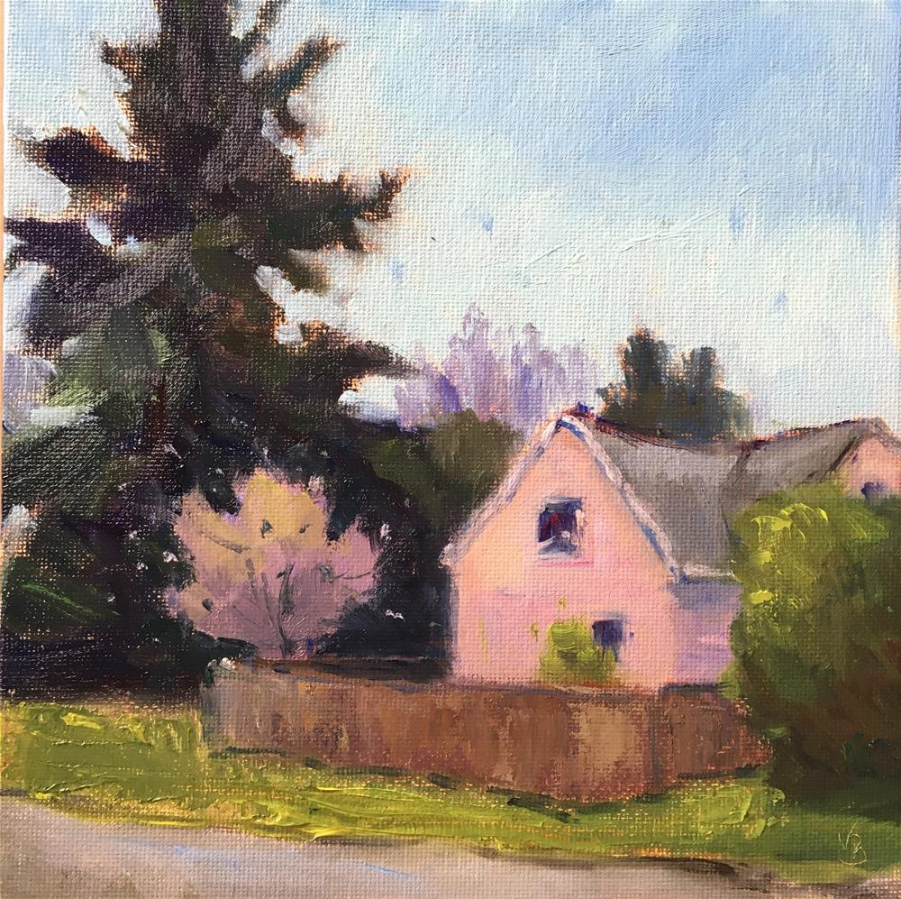 """Pink House on the Corner"" original fine art by Victoria  Biedron"