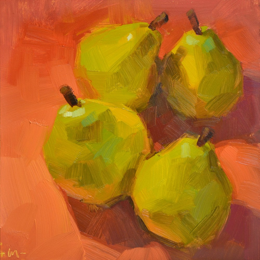 """Four Pear 1"" original fine art by Carol Marine"