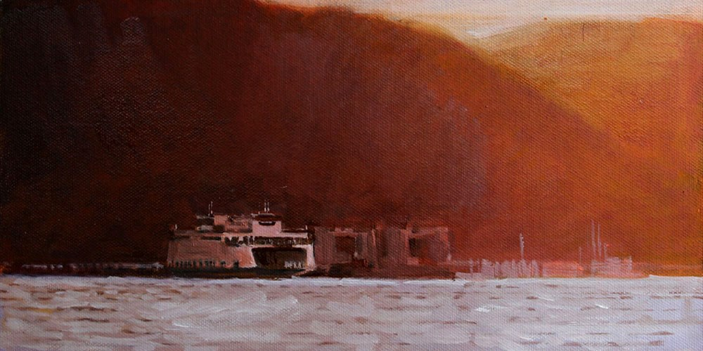 """""""Red Sunset Hills and Ferry"""" original fine art by Gretchen Hancock"""