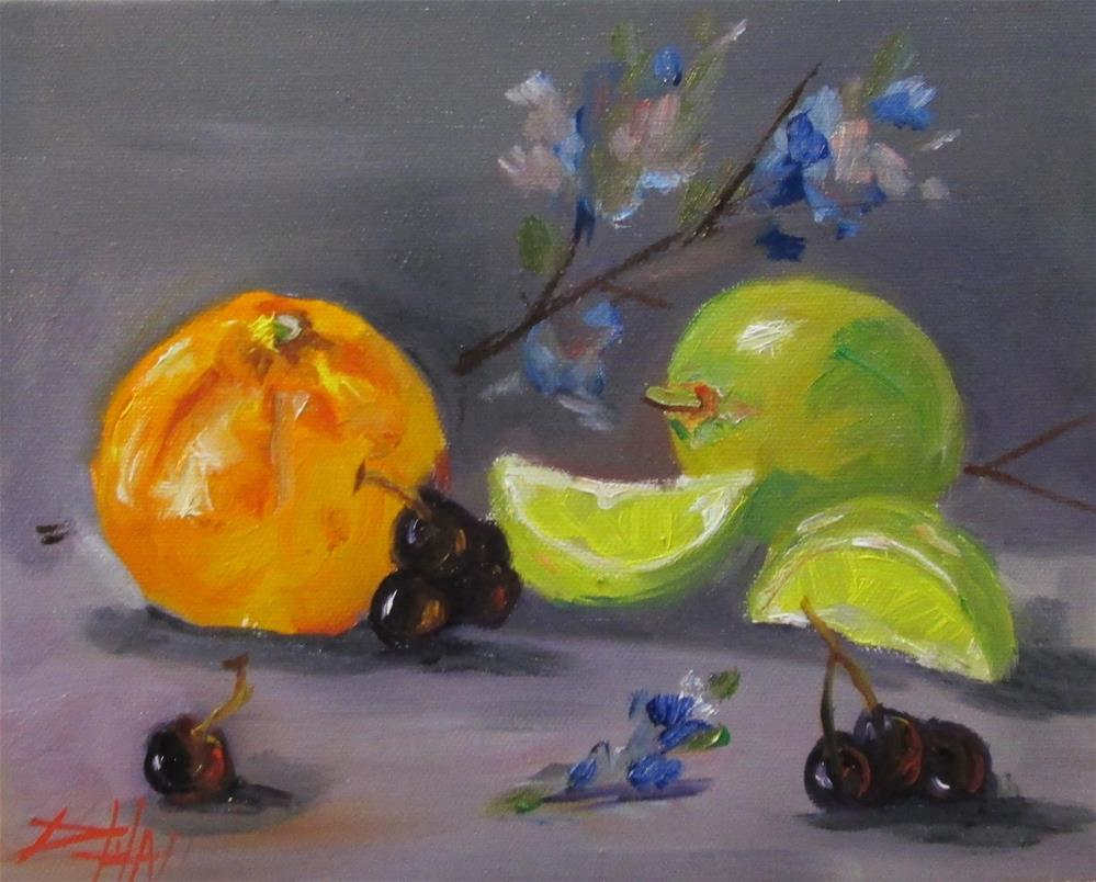 """""""Orange and Lime with Flowers"""" original fine art by Delilah Smith"""