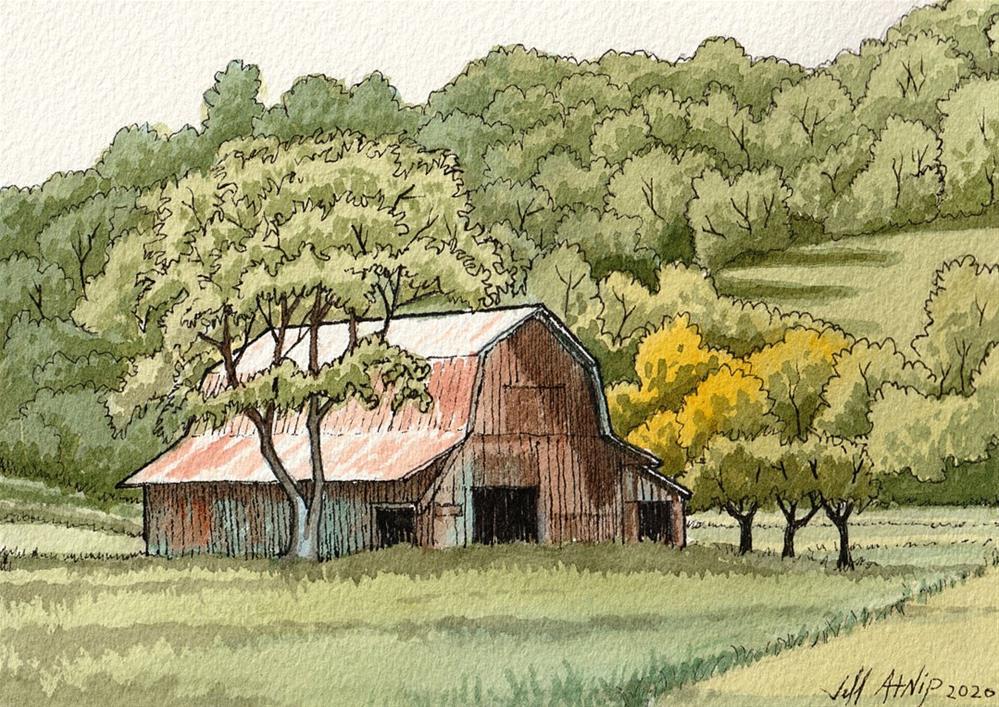 """Barn With A Hill"" original fine art by Jeff Atnip"