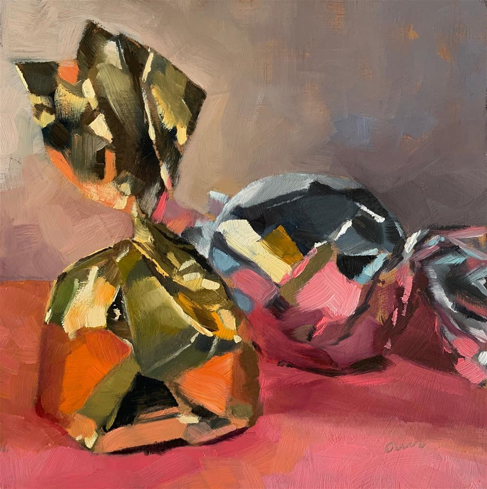 """Glossy candy wrappers"" original fine art by Ans Debije"