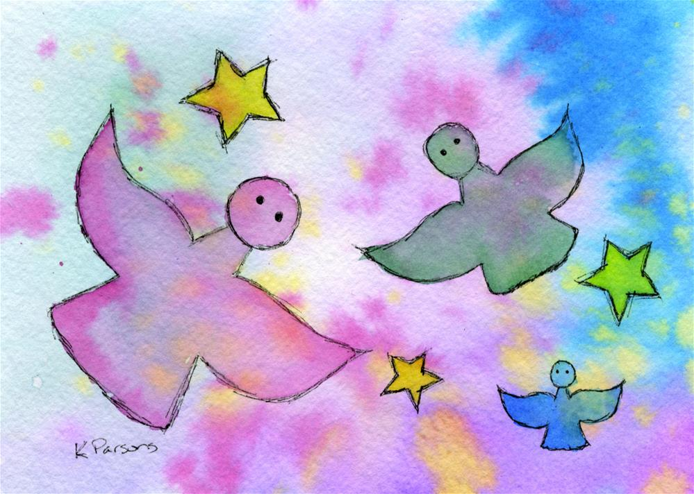 """""""Angels and Stars"""" original fine art by Kali Parsons"""