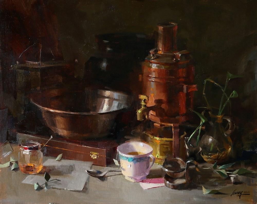"""Evening Tea"" original fine art by Qiang Huang"