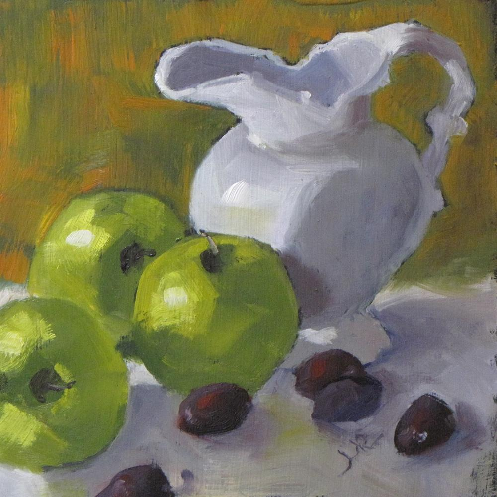 """""""Apples, grapes and pitcher"""" original fine art by Louise Kubista"""
