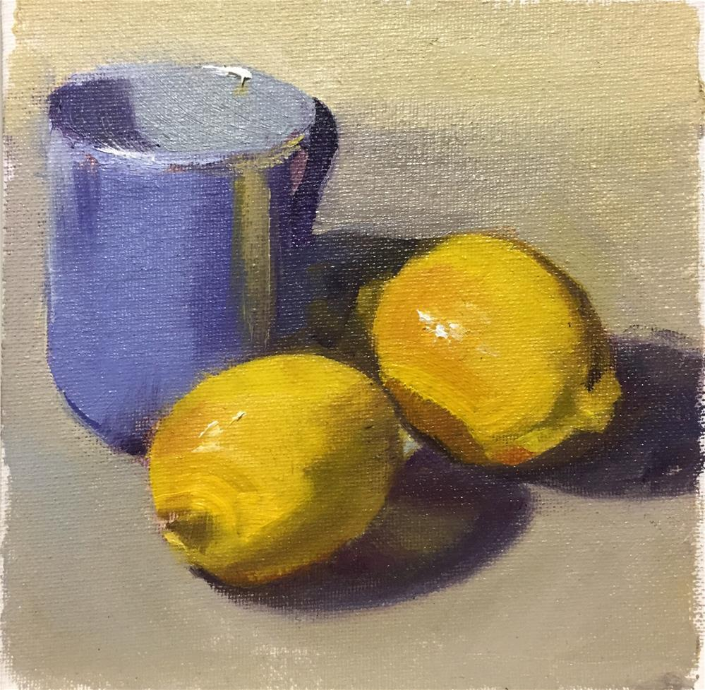 """Lemons and Blue"" original fine art by Sally Reichmuth"
