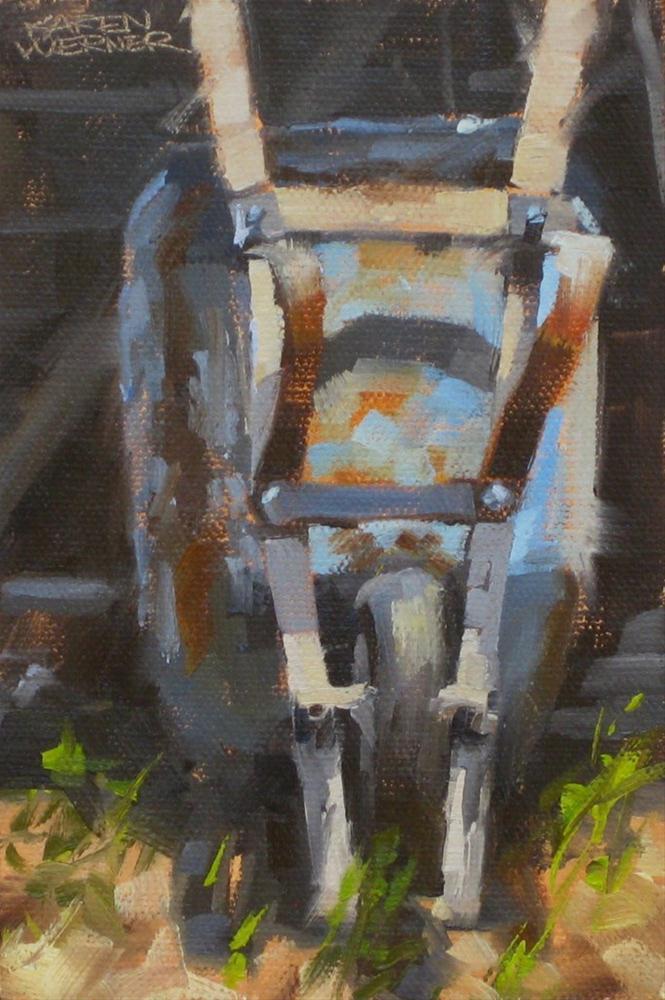 """""""Wheelbarrow"""" original fine art by Karen Werner"""