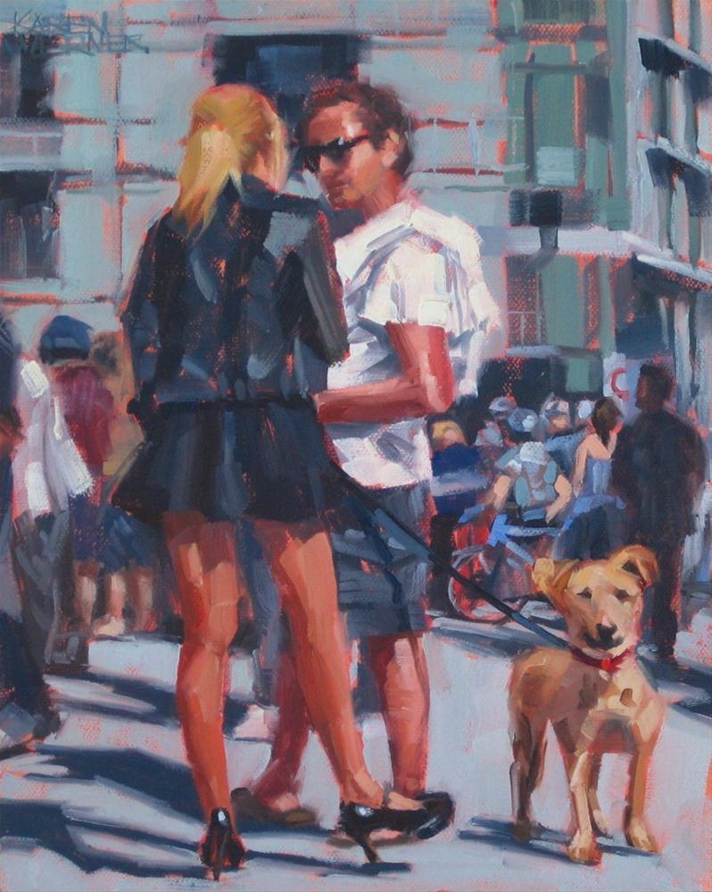 """Short Leash"" original fine art by Karen Werner"