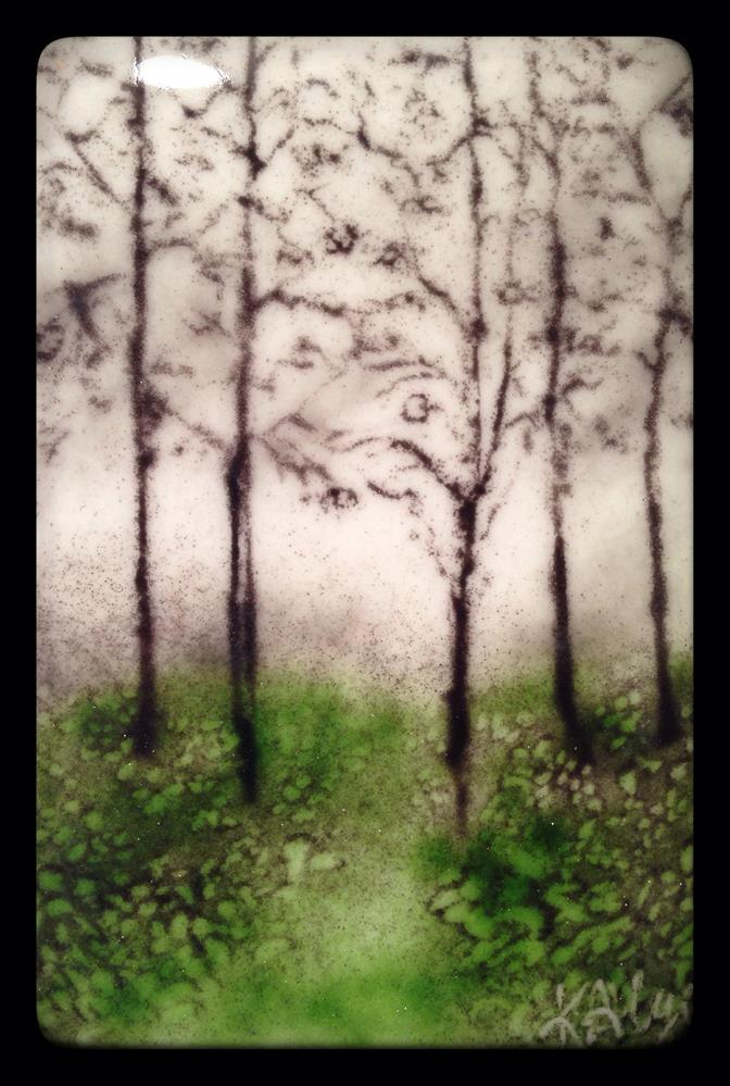 """""""Misty Trees"""" original fine art by Kelly Alge"""