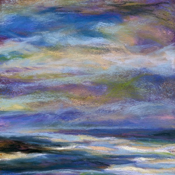 """EBB OF LIFE - 4 1/2 x 4 1/2 pastel seascape by Susan Roden"" original fine art by Susan Roden"