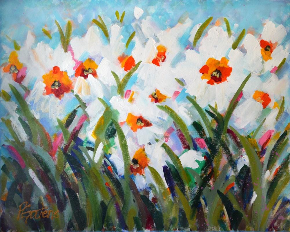 """White Spring Daffodils"" original fine art by Pamela Gatens"
