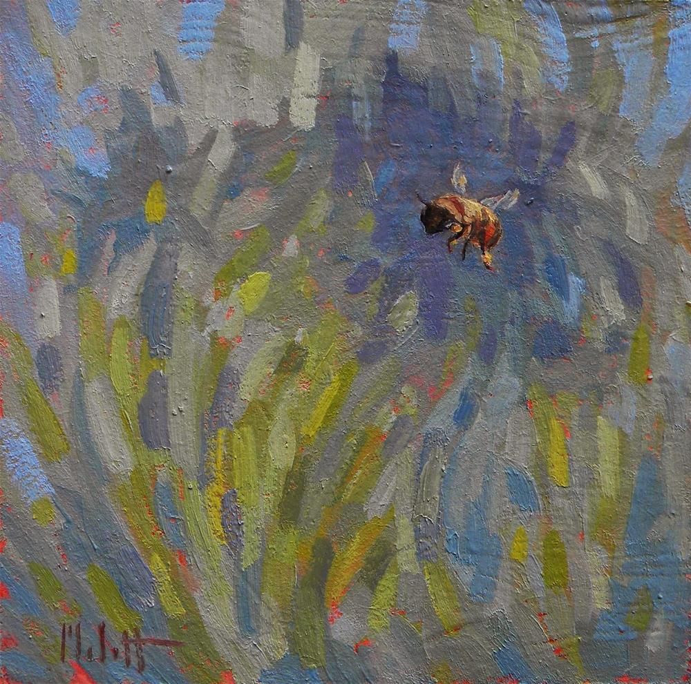 """Honeybee in the Garden Daily Painting"" original fine art by Heidi Malott"