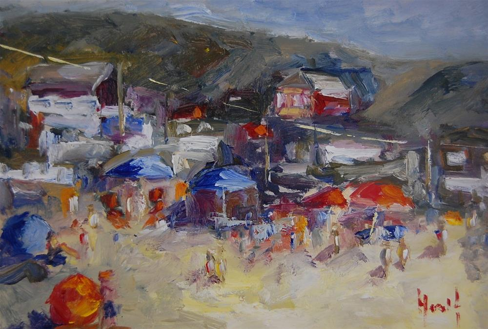 """Study of Crystal Cove Cottages"" original fine art by Deborah Harold"