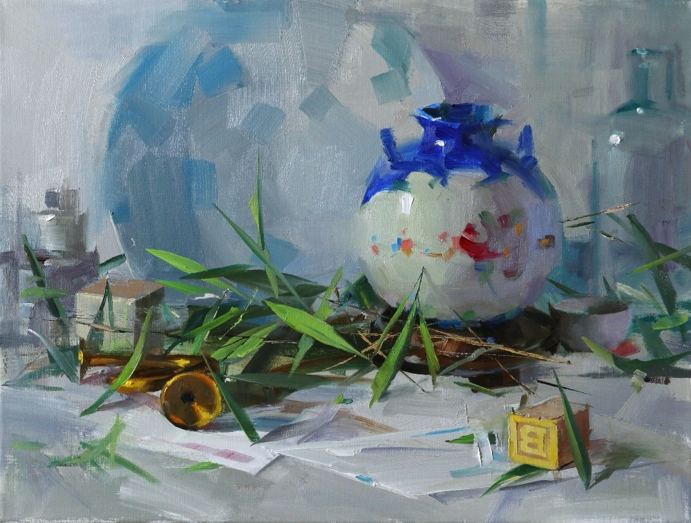 """Vase and Bamboo"" original fine art by Qiang Huang"
