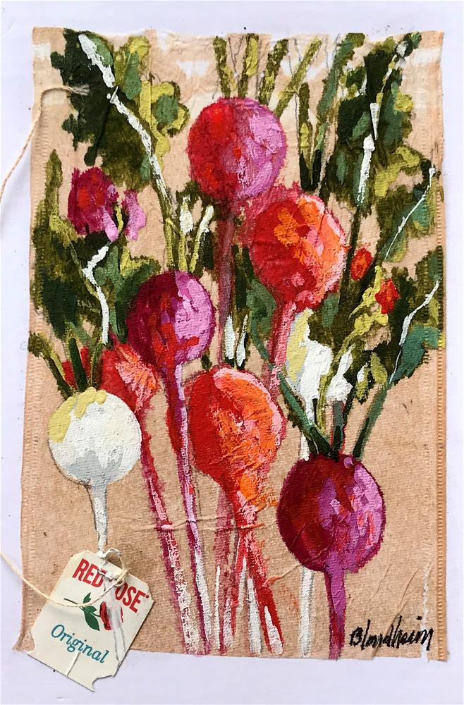 """Tea Bag Painting Radishes"" original fine art by Linda Blondheim"