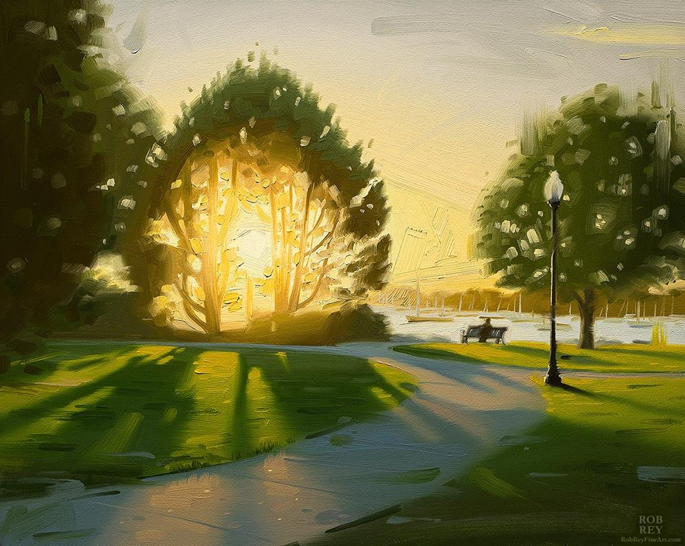"""Bristol Harbor Sunset"" original fine art by Rob  Rey"