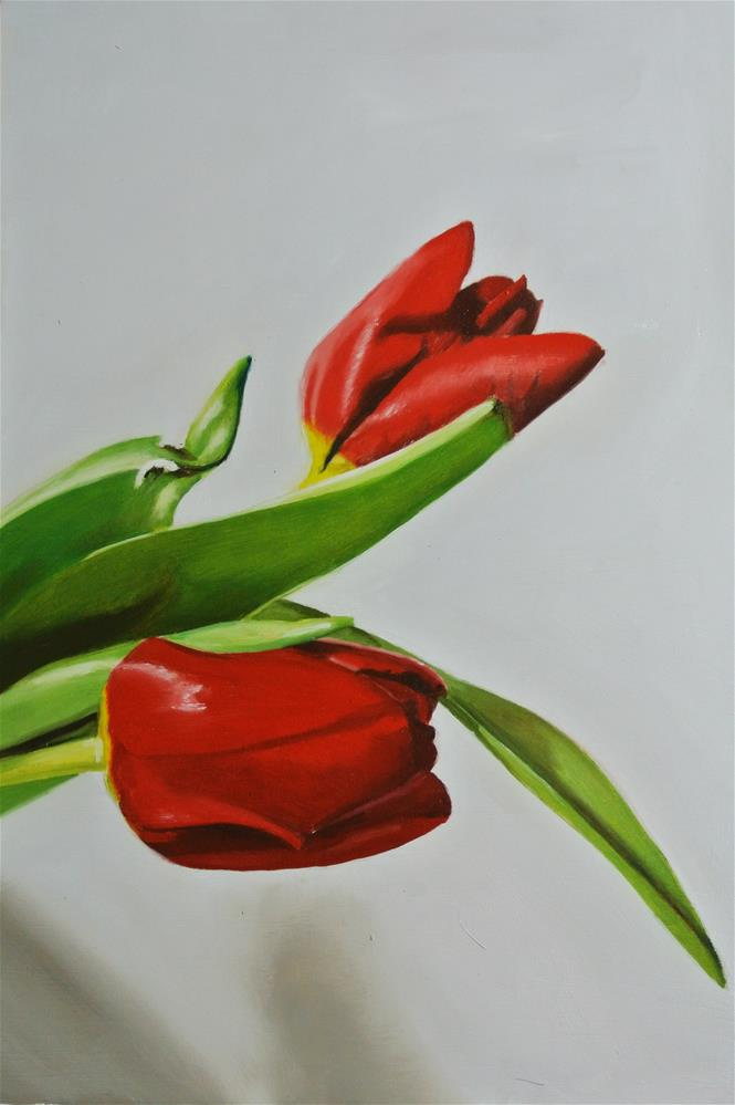 """Two Tulips"" original fine art by James Coates"