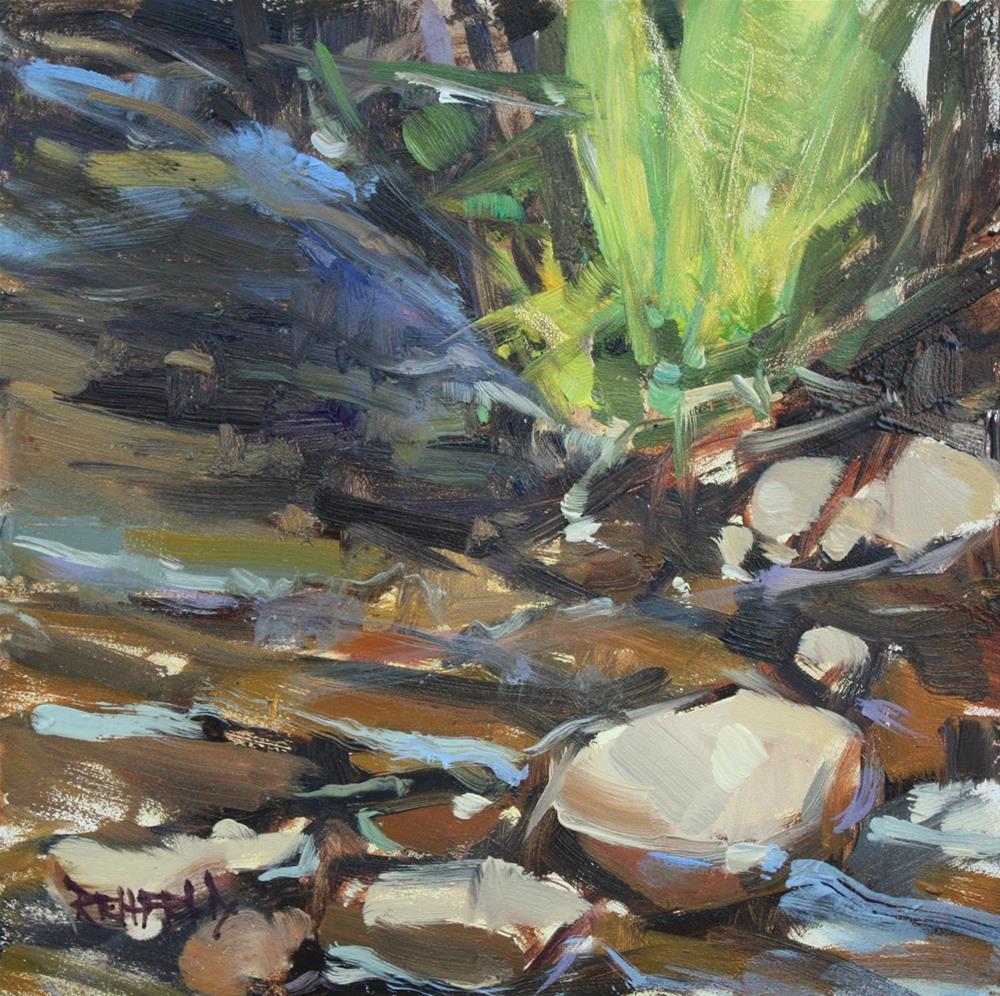 """Stream On The Rocks"" original fine art by Cathleen Rehfeld"