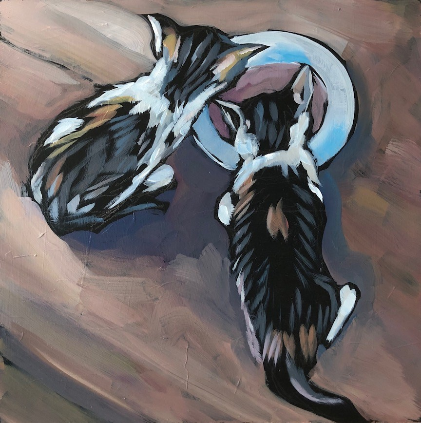 """Franklin's Kittens"" original fine art by Kat Corrigan"