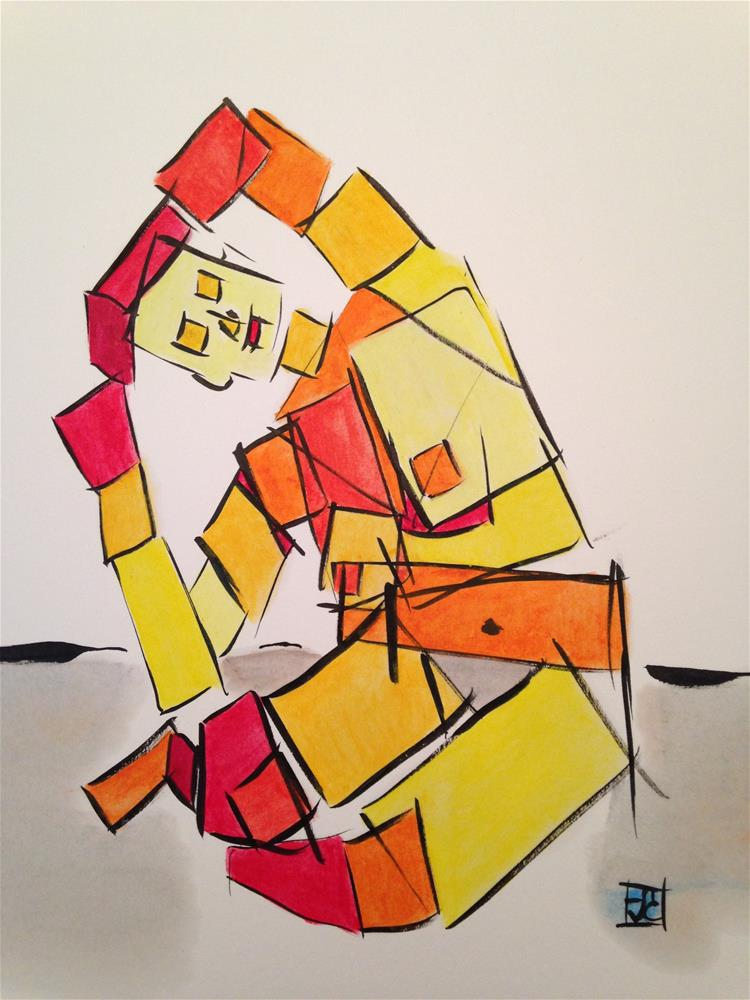 """Box woman leaning"" original fine art by Arron McGuire"