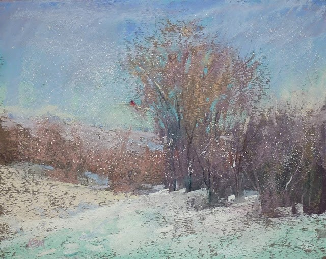 """My Favorite Tip for Painting Snow in Pastel"" original fine art by Karen Margulis"