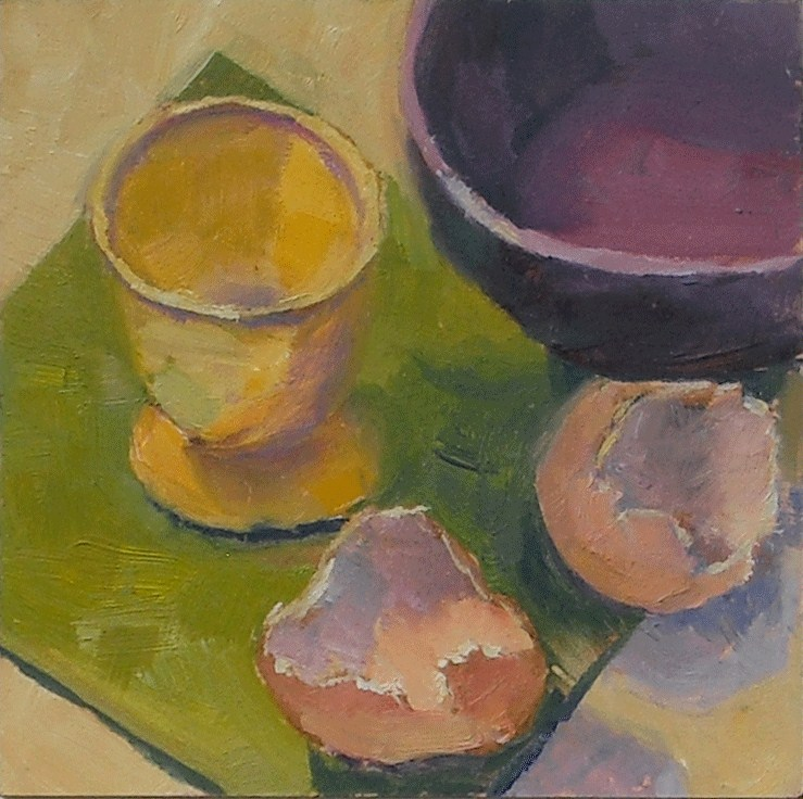 """""""Egg cup and shells"""" original fine art by Kathy Johnson"""
