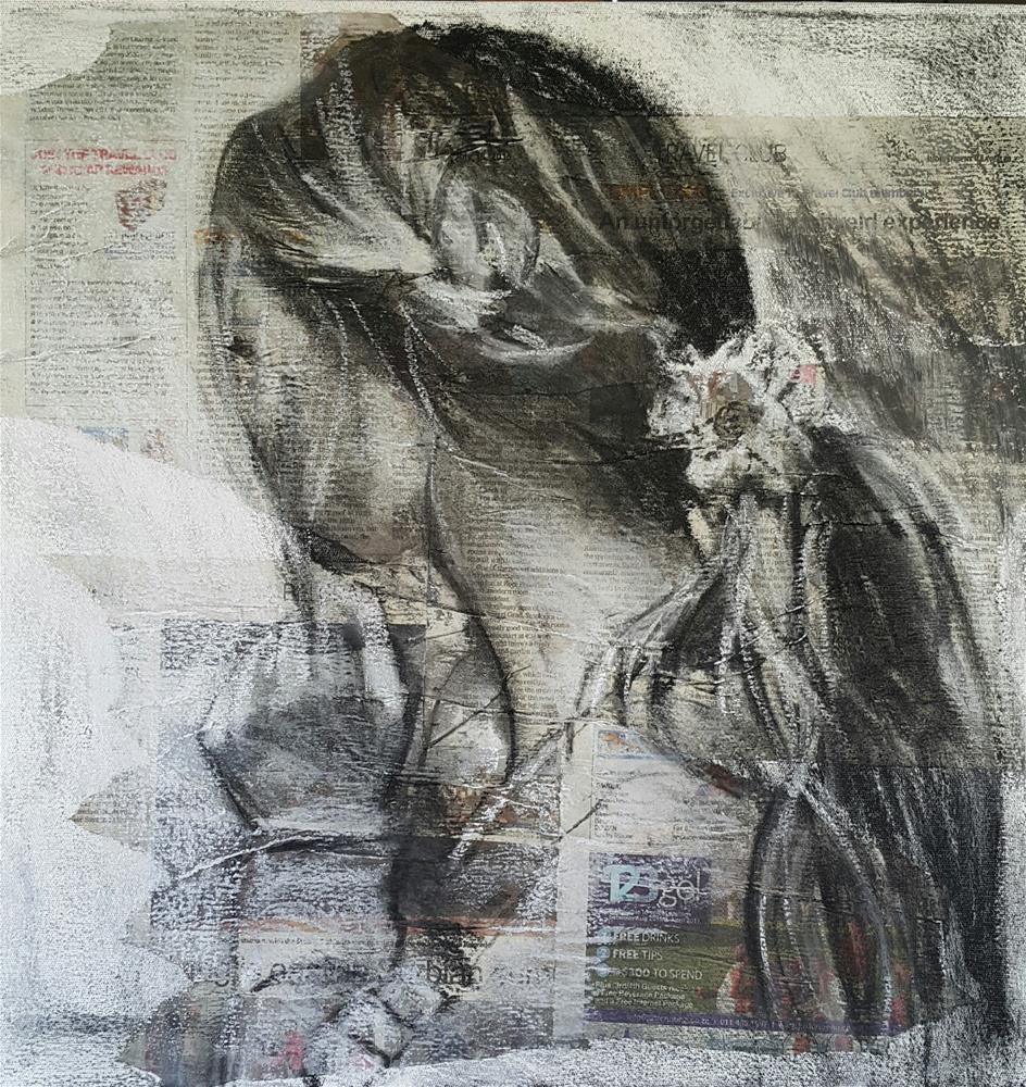"""""""Flower in her hair"""" original fine art by Rentia Coetzee"""