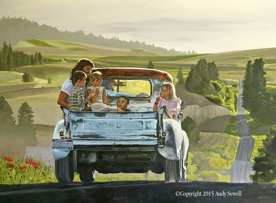 """""""Ridin' with Jesus"""" original fine art by Andy Sewell"""