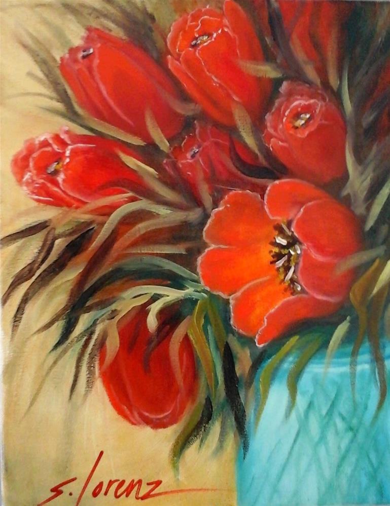 """Dancing with Tulips"" original fine art by Sue Lorenz"