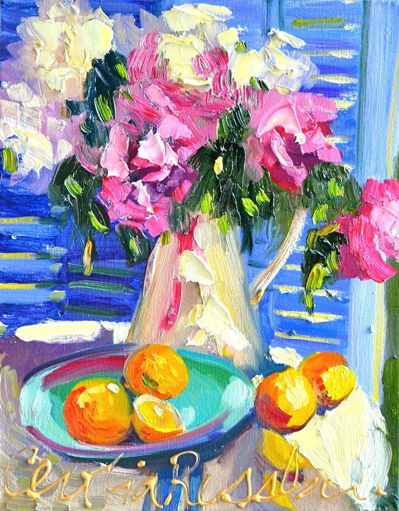 """""""FRENCH PEONIES"""" original fine art by Cecilia Rosslee"""