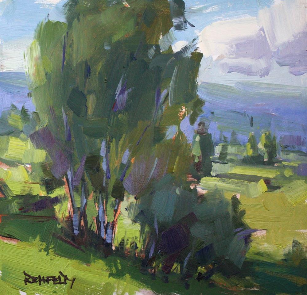 """Birch Trees at Yvonne's Farm"" original fine art by Cathleen Rehfeld"