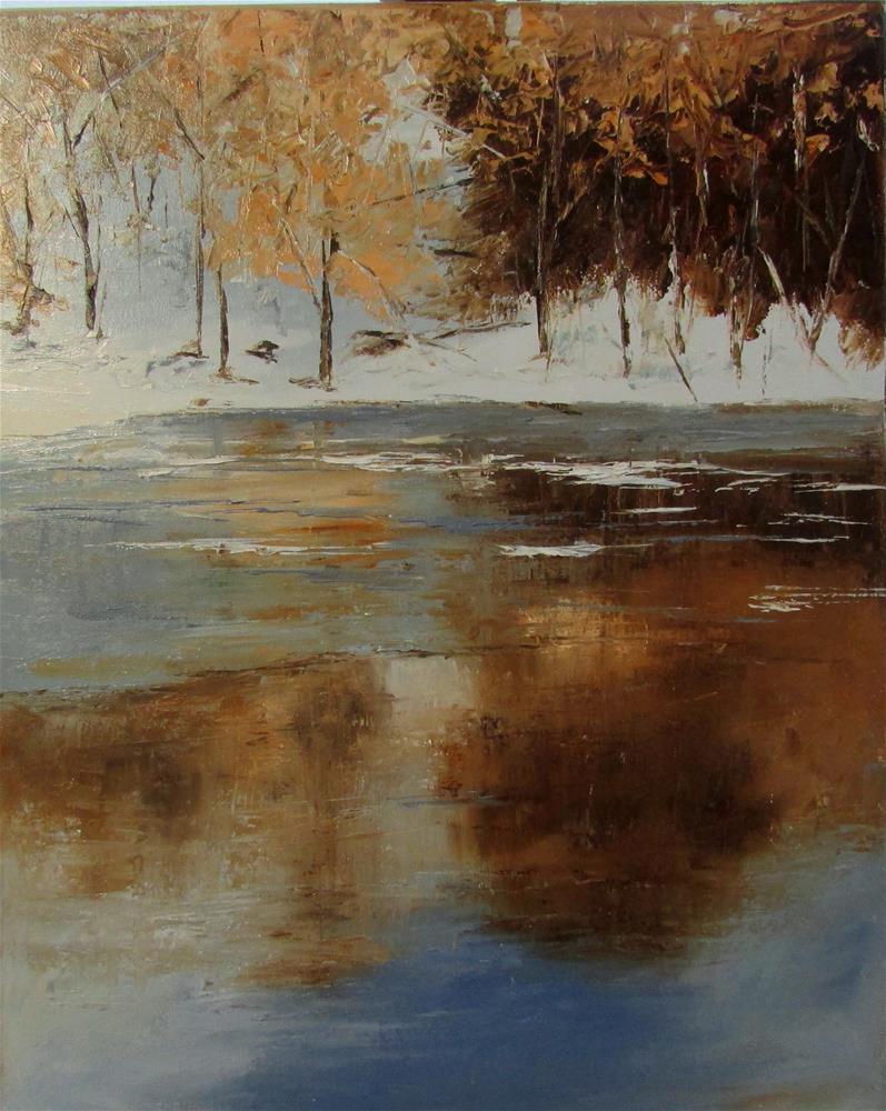 """20 x 16 inch oil Winter's Edge"" original fine art by Linda Yurgensen"