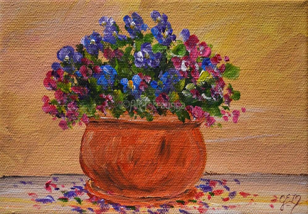 """SALE!!!Terracotta Blooms"" original fine art by Gloria Ester"