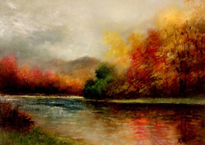 """River in the Fall"" original fine art by Bob Kimball"