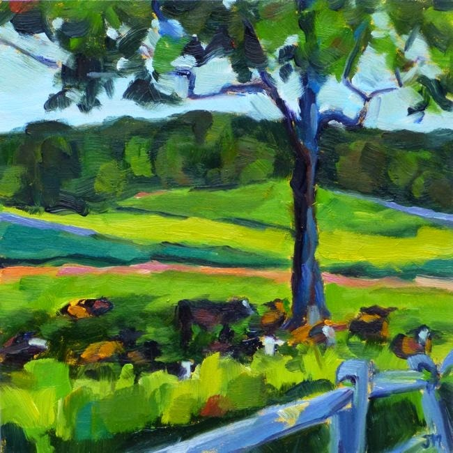 """""""Cows at Stone Barns"""" original fine art by Jessica Miller"""