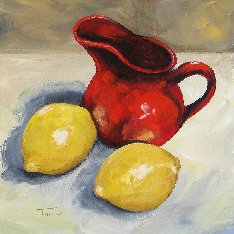 """Lemons and Red Creamer"" original fine art by Torrie Smiley"