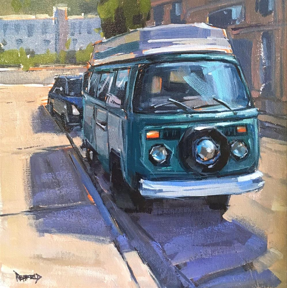 """Vintage VW 12x12"" original fine art by Cathleen Rehfeld"
