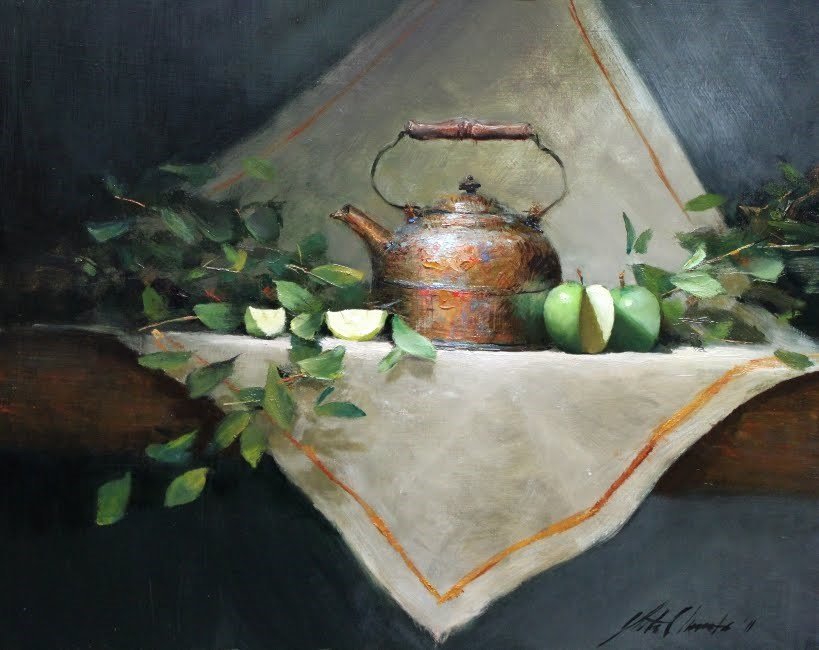 """'Green Apples and Kettle'"" original fine art by Justin Clements"