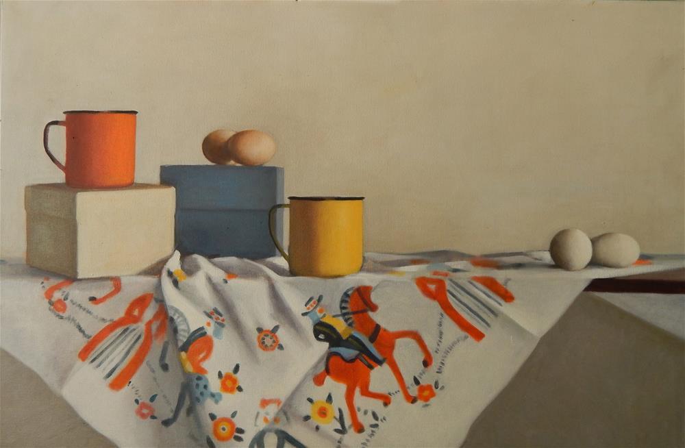 """Still Life in Orange, Blue, Yellow and White"" original fine art by Megan Schembre"