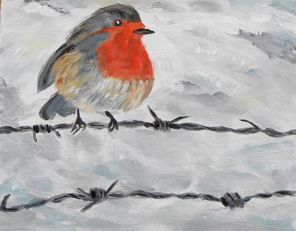 """Bird on a Wire"" original fine art by cheryl buhrman"